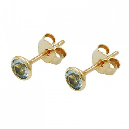 Stecker, synthet. Aqua 4mm, 8Kt GOLD