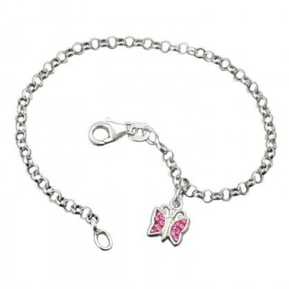 Armband, Schmetterling pink, Silber 925