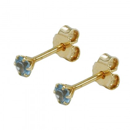 Stecker, 3mm synth. Aquamarin, 9Kt GOLD