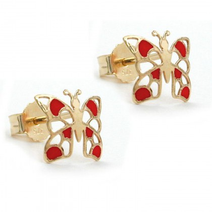 Stecker, Schmetterling rot, 9Kt GOLD