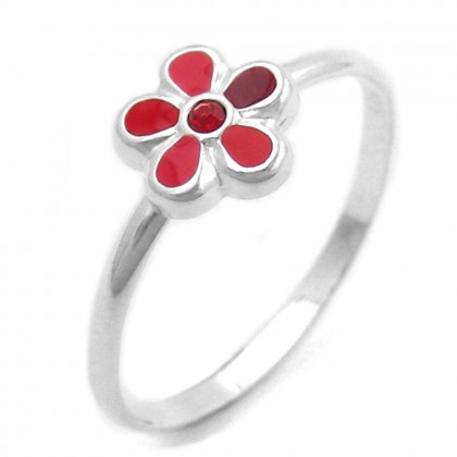 Ring Blume rot Silber 925